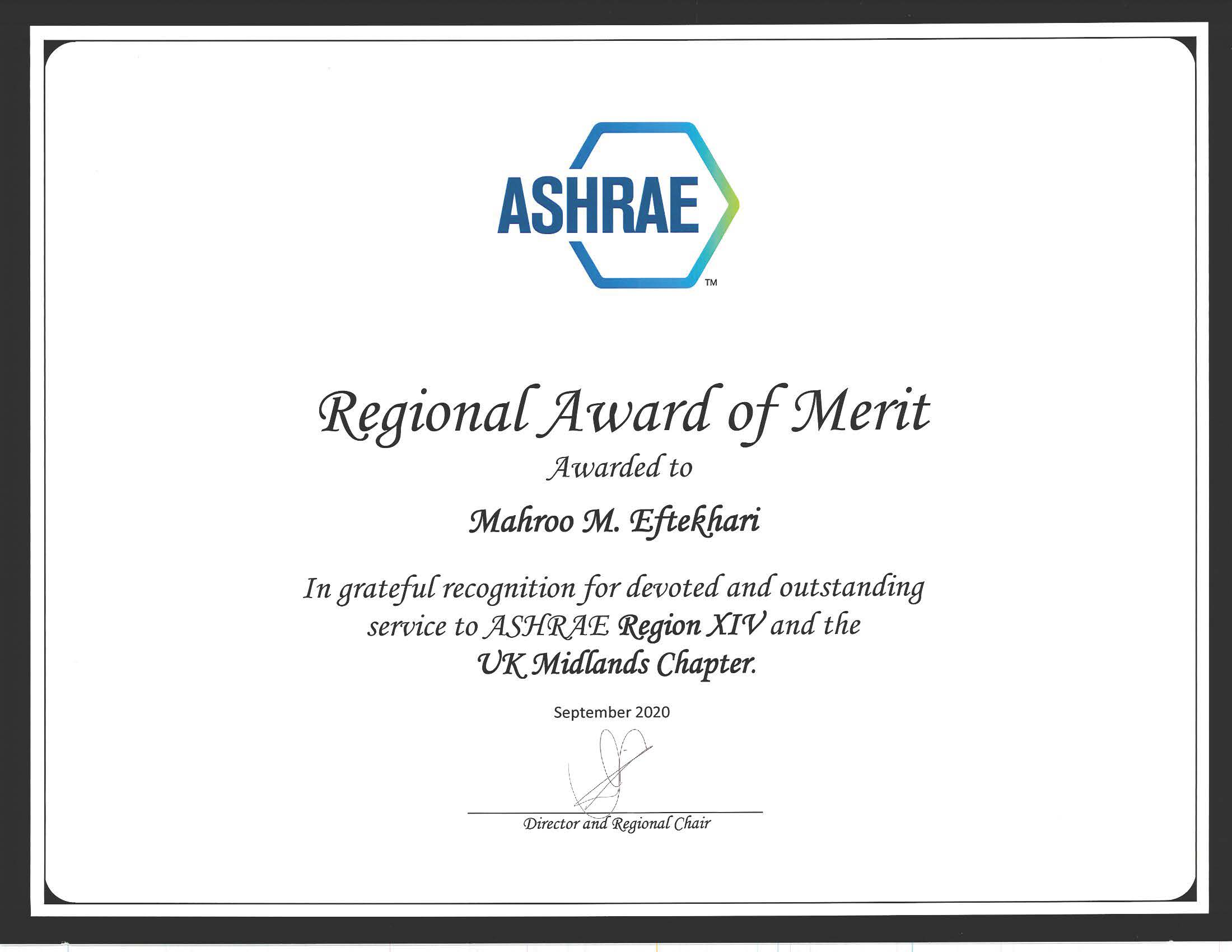Regional Award of Merit awarded to Dr.Mahroo Eftekahri